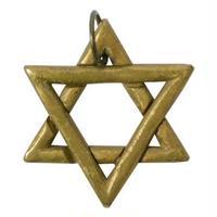 """【Vintage / Nepal Hand Made】""""Hexagram"""" Brass Pendant Top (a-15)"""