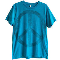 """【70's vintage / made in usa】""""Peace symbol""""  hippie T-shirts  -S / turquoise blue- (jt-218-66)"""