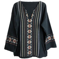 【 70's  vintage / Guatemala hand made】flower embroidery Tunic  -black -  (om-212-6)