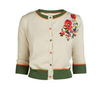 classic cardigan/floral corsage/cream