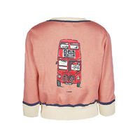 classic cardigan/london bus/dusky pink