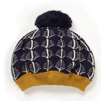 beret/navy cream feathers