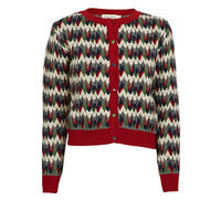 cardigan/red marbled feathers