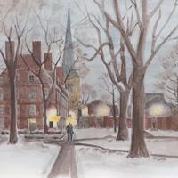 ポストカード ハーバード大学 雪景色