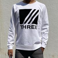 THREE felt logo sweat white