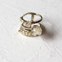 いばらring (silver925 10金コーティング Whiteflower)