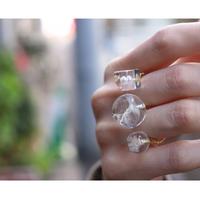 Tomodachi ring たんぽぽの綿毛、真珠、カスミ草