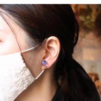 雪ピアス/イヤリング 紫の霞草