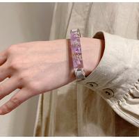 ブレスレット 透明色の影 薄紫のスターチス x Blue gray レザー
