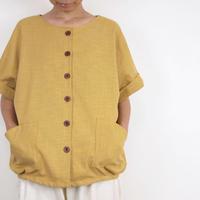 Furusuボタンシャツ(木綿 淡黄)【受注生産対応】