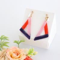 和紙のイヤリング/ピアス*三角フレーム/紫×赤×ピンク