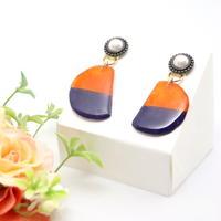 和紙のイヤリング/ピアス*ビジューボタンと半円*バイカラー/橙×紫