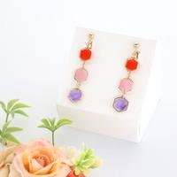 和紙のイヤリング/ピアス*3連*六角/赤×ピンク×紫