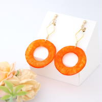 和紙のイヤリング/ピアス*丸とダイヤフープ/橙