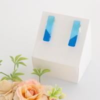 和紙のイヤリング/ピアス*ノンフレーム*四角/水色×青