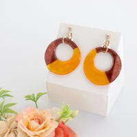 和紙のイヤリング/ピアス*丸*バイカラー/茶色×オレンジ