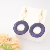 和紙のイヤリング/ピアス*丸とダイヤフープ/紫