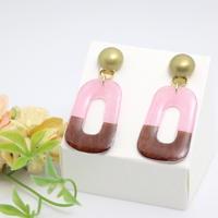 和紙のイヤリング/ピアス*長方形*メタルボタン*茶色×ピンク
