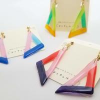 和紙のイヤリング/ピアス*三角フレーム