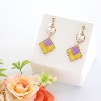和紙のイヤリング/ピアス*スクエア*丸フープ/紫×黄色