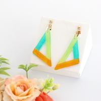 和紙のイヤリング/ピアス*三角フレーム/黄色×緑×黄緑