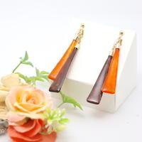 和紙のイヤリング/ピアス*さんかく2*バイカラー/茶色×橙