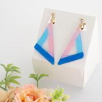 和紙のイヤリング/ピアス*三角フレーム/青×水色×ピンク