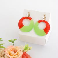 和紙のイヤリング/ピアス*丸*バイカラー/赤×黄緑