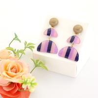和紙のイヤリング/ピアス*ストライプ半円*メタルボタン/紫