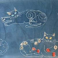 【紅型染め】ご機嫌な猫ストール/ラ・シャンテ・ブリュー