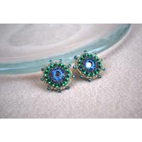 ミラー刺繍の丸ピアス  ・イヤリング BLUE系