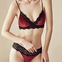 パッド付きvelvet × black lace set up wine red