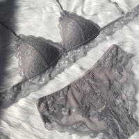パッド付き silver  gray bralette set up
