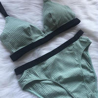 cotton mint green× black bralette set up