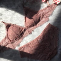 パッド付き flower pink bralette set up