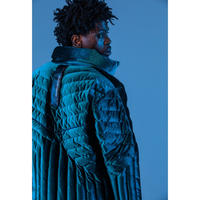 "E.T.R. PUFF JACKET (EMERALD BLUE  ""VELOUR"")"