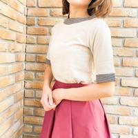ボーダー衿 半袖カットソー サイロプレミアム