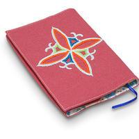 刺繍のブックカバー(文庫サイズ) 暗めの赤