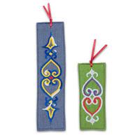 刺繍のしおり2枚セット 薄い青色・緑色
