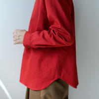 weather cloth cotton linen/raglan shirt/red