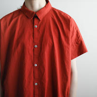 weather cloth cotton linen/short sleeve shirt one piece/red