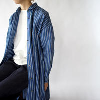 original cotton linen/ long shirt one piece/blue