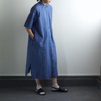 original cotton linen stripe/short sleeve one piece/blue