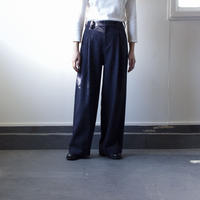 donegal tweed wide pants/navy