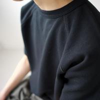 hanging sweat shirt/half sleeve/black