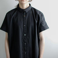 weather cloth cotton linen/short sleeve shirt one piece/black