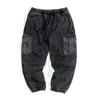 メンズ/黒/青/サイドポケット/デニム/ジョガーパンツ