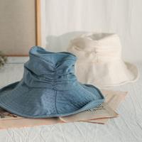 ベージュ/青/黒ギャザーが立体的持ち運び便利綿麻素材ハット