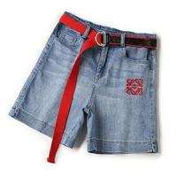 ベルト付きポイント刺繍赤デニム青ショートパンツ