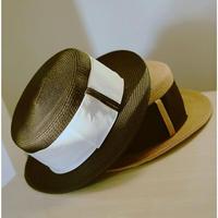 黒/ベージュおしゃれ春夏コーデ太めベルトバイカラーカンカン帽